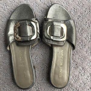 Stuart Weitzman Leather Gold Sandal, Size 5 M